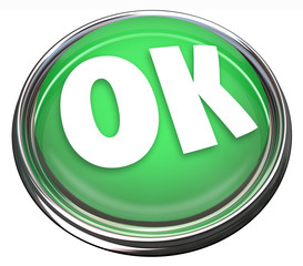 OK Green Round Button Okay Approval Acceptance