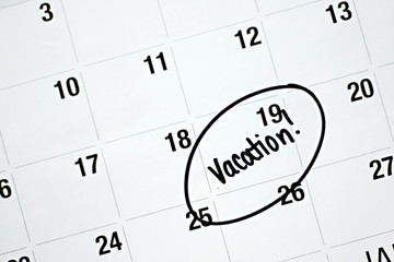 Vacation Plans Circled on Calendar