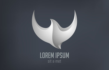 Logo Fashion luxury jewelry Bird flying metal abstract design