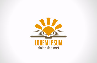 Logo Sun over Book. Knowledge e-reading library concept