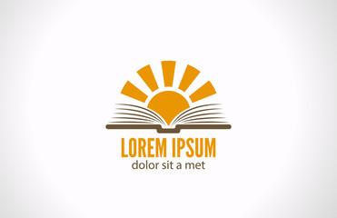 Logo Sun over Book. Knowledge e-reading library concept