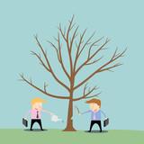 businessman cutting tree of competitor poster
