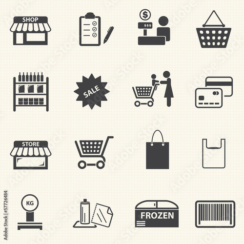 Mom shopping icons set on texture background. Vector