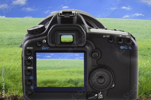 verte campagne et appareil photo
