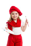 kid girl in artist costume isolated