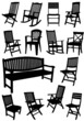 Collection of garden chairs and benches silhouettes. Vector illu
