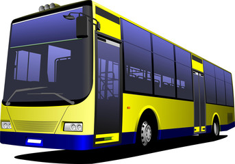 Yellow city bus. Coach. Vector illustration