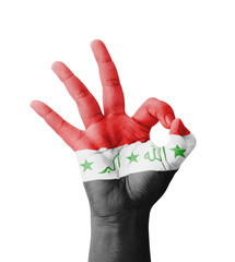 Hand making Ok sign, Iraq flag painted