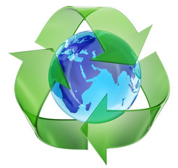 Recycling symbol encompassing the planet earth