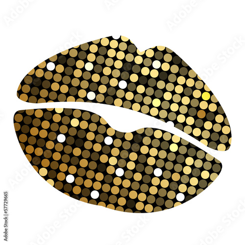 Vector lipstick print with disco lights