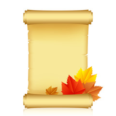 Vector illustration of scroll with autumn leaves