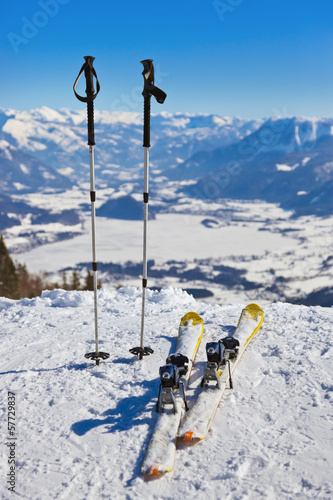 Mountains skis and ski-sticks - St. Gilgen Austria