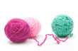 Balls of yarn for knitting isolated