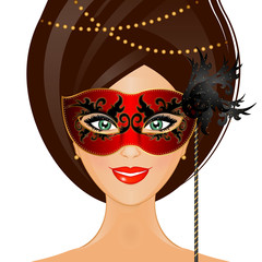 Vector illustration of woman with mask