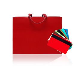 Red shopping and credit, discount cards bag on a white