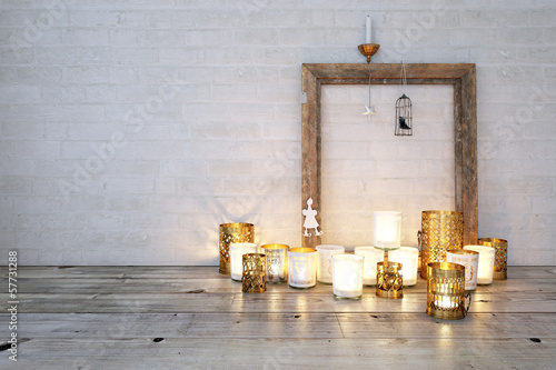 canvas print picture Teelichter am Boden - Candle lights on floor
