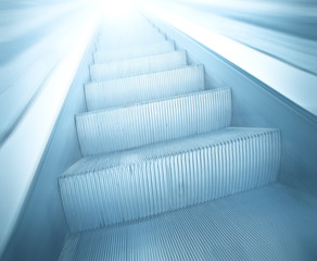 steps of escalator in business center