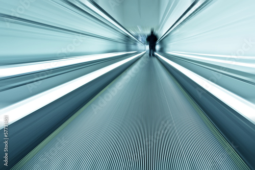 blue texture of contemporary escalator in business center