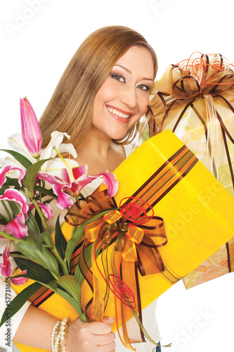 Female presents boxes flowers