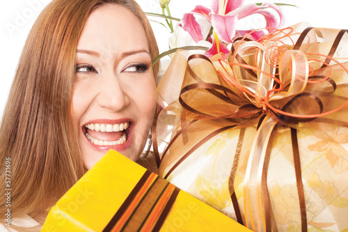happy smiling holiday gifts presents
