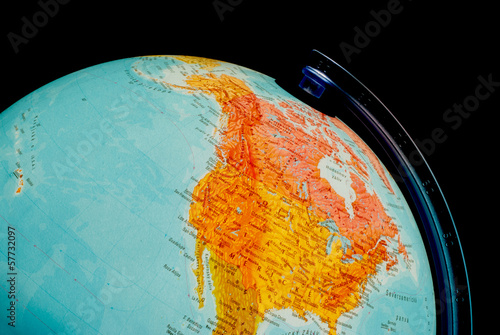 Illuminated globe close up