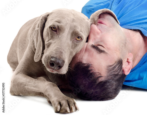 dog and man