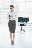 Gorgeous calm businesswoman standing in her office using her sma poster
