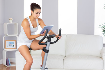 Concentrated slender woman training on an exercise bike while us