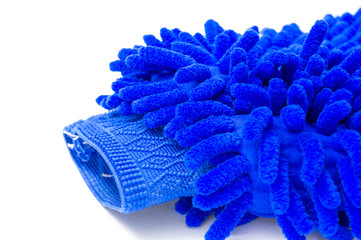 Blue glove close up