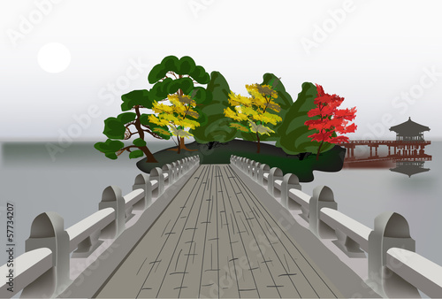 bridge to pavilion in pond illustration