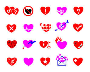 colorful heart concept icon set