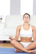 Brunette woman in sportswear sitting on an exercise mat