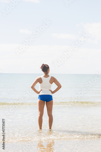 Rear view of woman standing on the beach with hands on hips