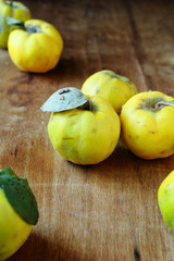 fresh quince on an old table