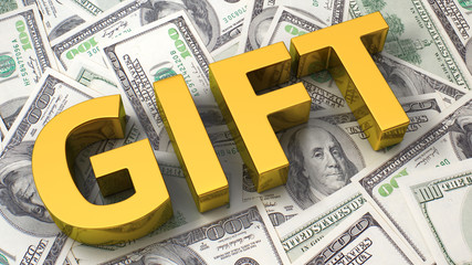 Gift on the dollar background