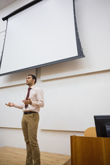 Male teacher against projection screen in lecture hall