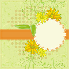 Vector Vintage Floral Frame With Blooming Calendula.