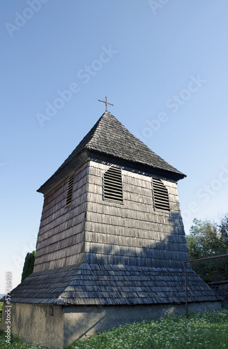 The wooden belfry from 17th century in Svaty Jur, Slovakia.
