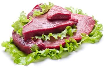 Raw meat on lettuce leaves.