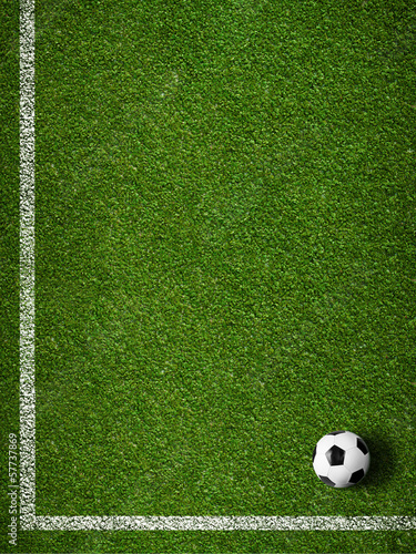 Soccer grass field with marking and ball top view - 57737869