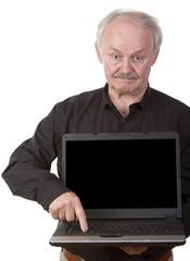 Senior businessman with laptop