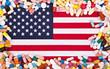 Flagge der USA umrandet von Tabletten