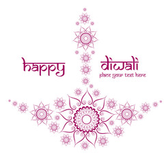Beautiful decorative diwali diya artistic design vector