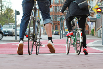 Fahrräder an Ampel