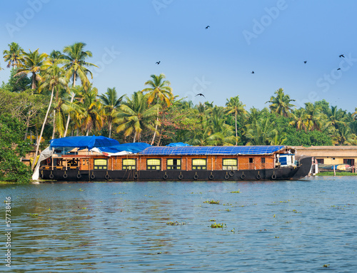landscape with houseboat in kerala backwaters, India, kerala