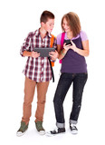 Teens with mobile devices