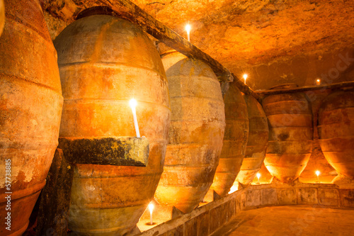 Antique winery in Spain with clay amphora pots