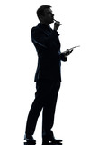 business man  thinking pensive digital tablet  silhouette