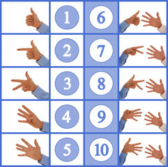Hands figuring numbers one to ten