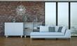 modernes Sofa vor Klinkerwand